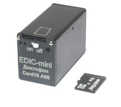 Миниатюрный стерео диктофон EDIC-Mini Card16 А99m